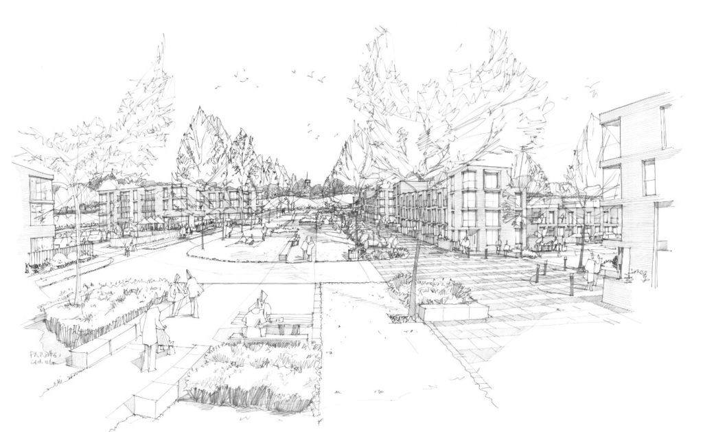 Gallifors Artist Drawing for 380 Homes in Exeter